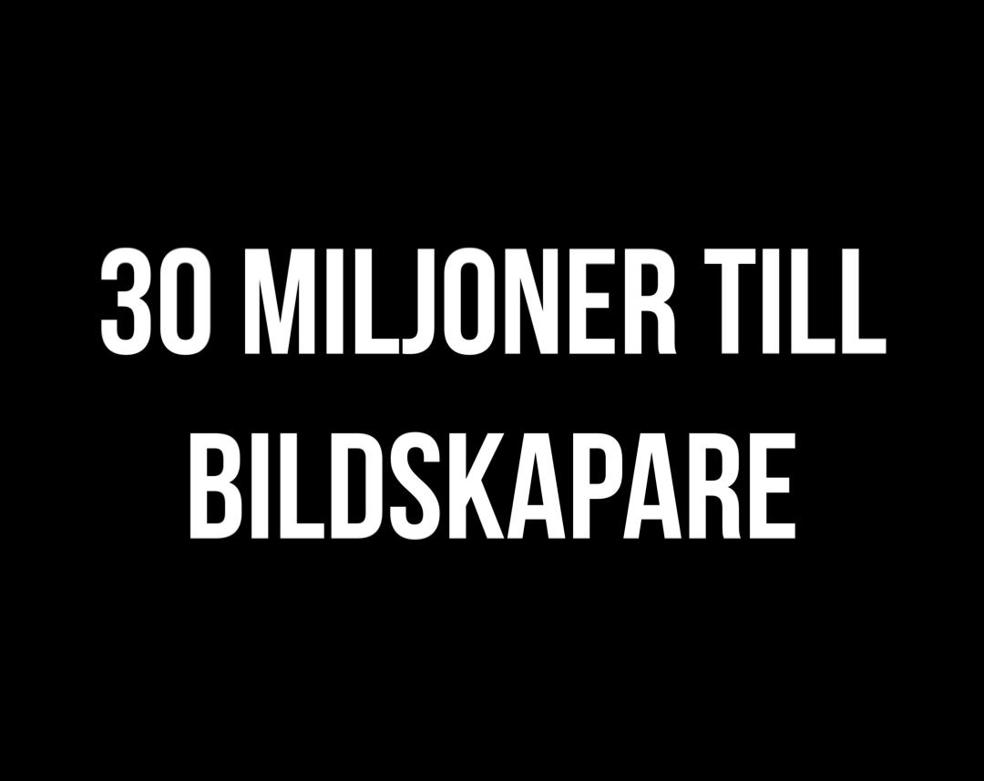30 miljoner delas ut till bildskapare
